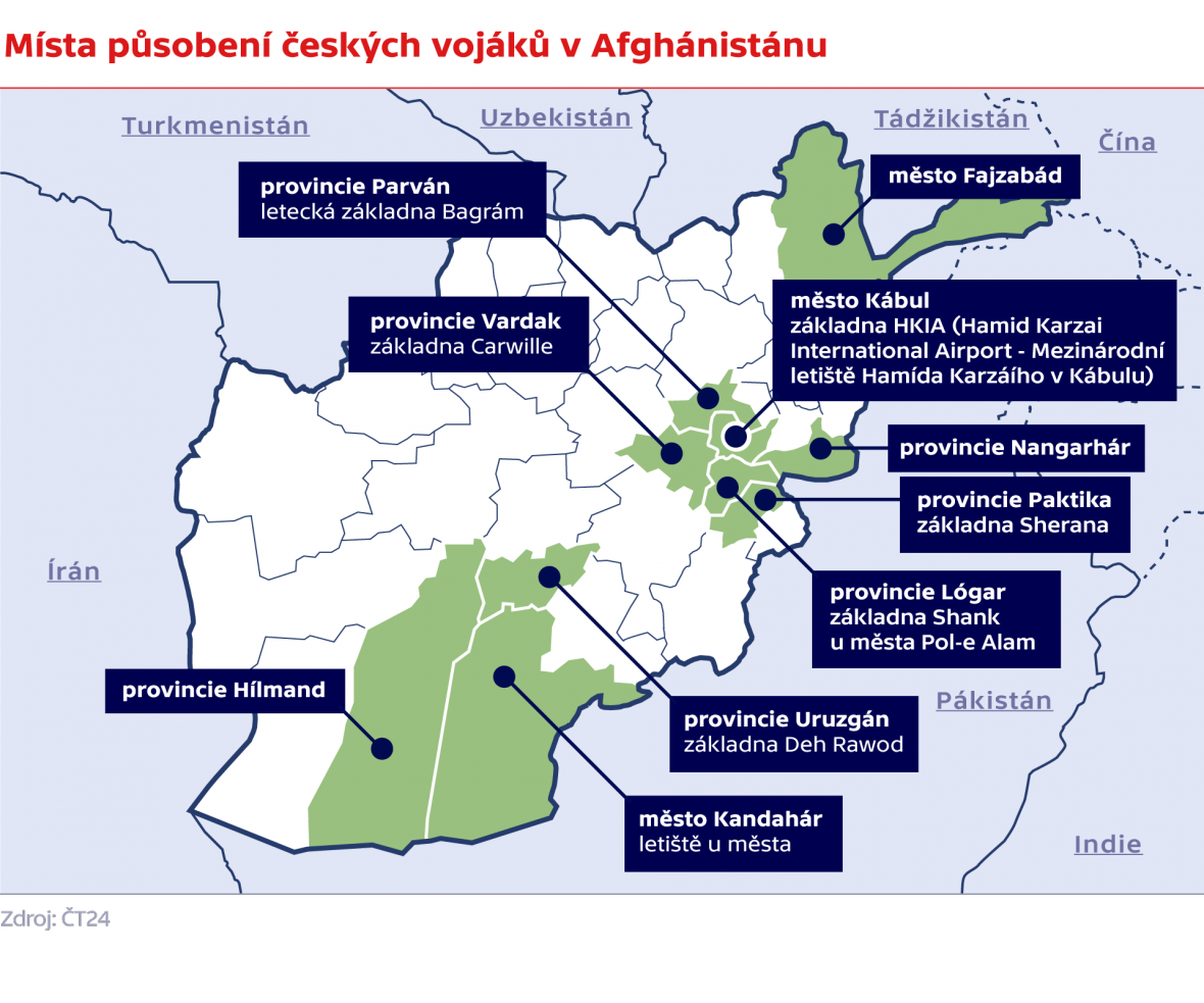 Místa působení českých vojáků v Afghánistánu