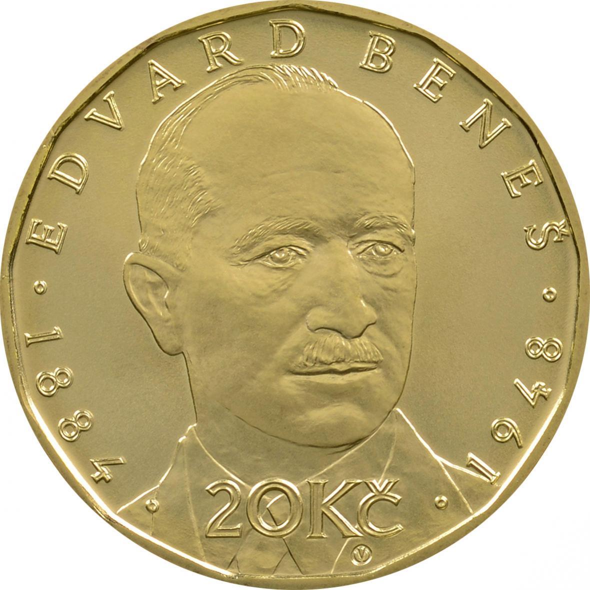 mince s portrétem Edvarda Beneše