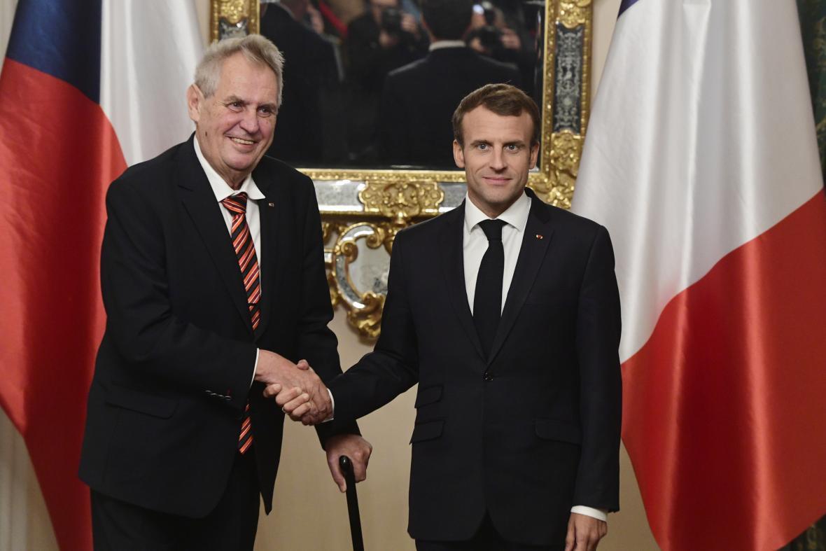 Prezidenti Miloš Zeman a Emmanuel Macron