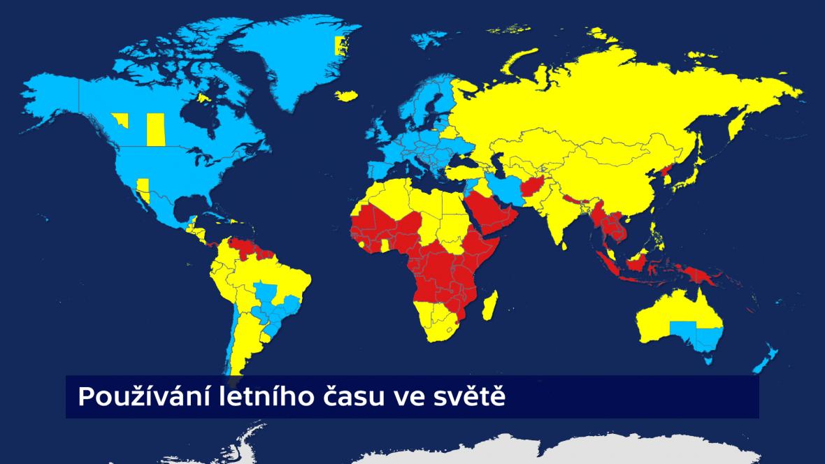 Střídání času: v modrých zemích se používá, ve žlutých bylo zrušeno a v červených se nepoužívalo nikdy
