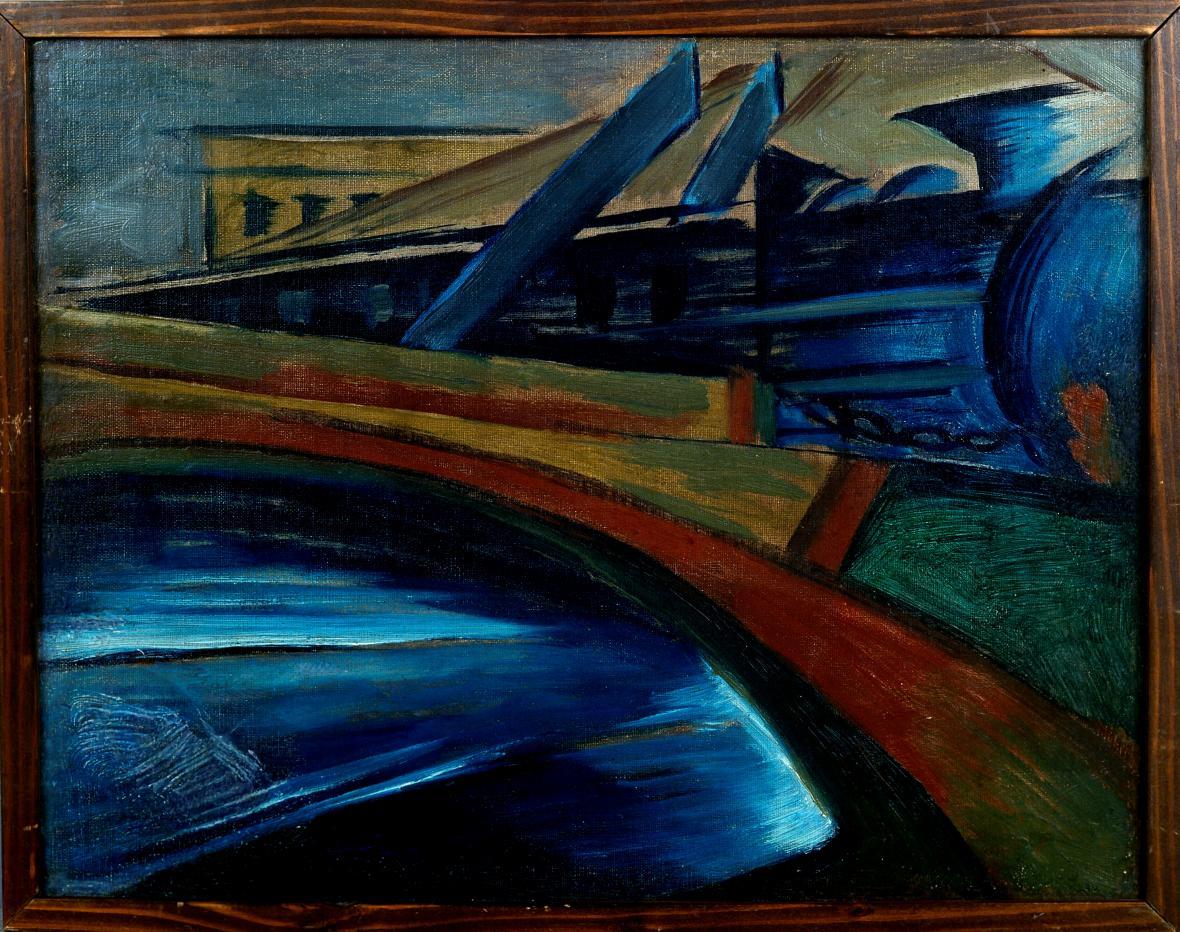 Josef Šíma / Železniční most, 1920