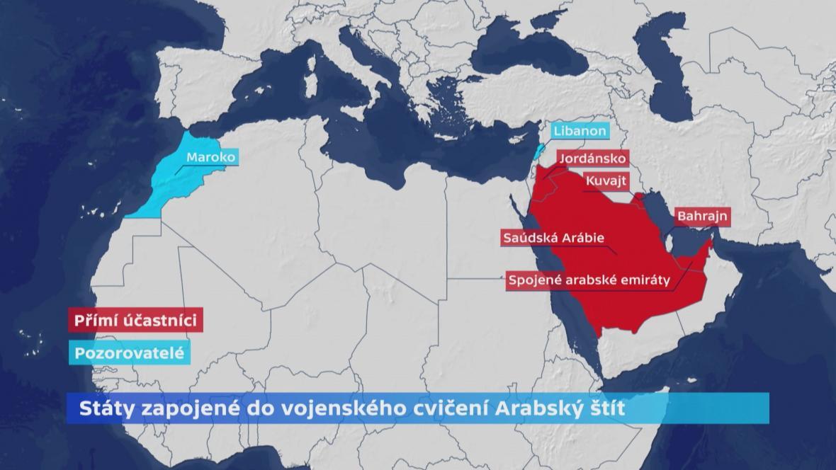 Státy zapojené do vojenských manévrů Arabský štít