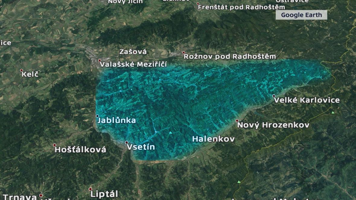 Předpokládaná oblast odlovu