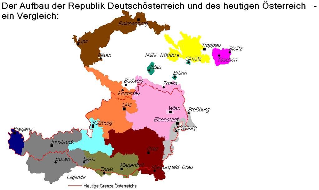 Území, která měla být zahrnuta do republiky Německé Rakousko