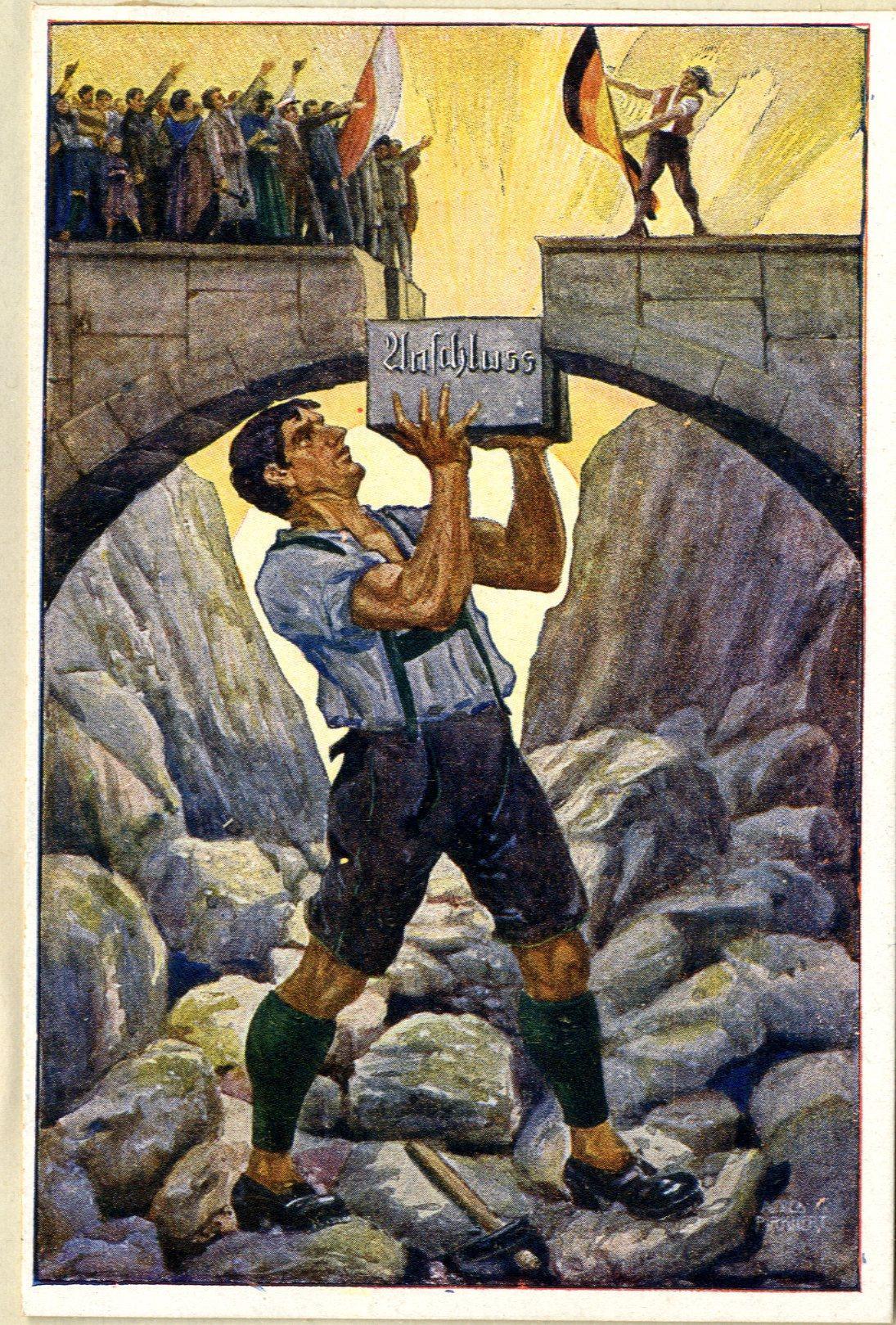 Propagandistický plakát z roku 1921 vyzývá Rakušany k anšlusu s Německem