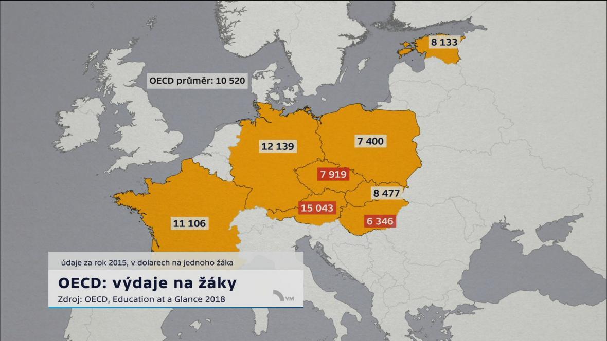 Mapa OECD: výdaje na žáky