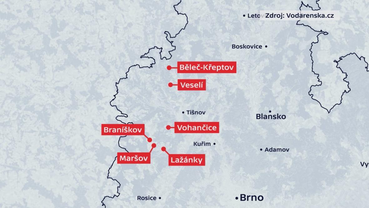 Obce na Tišnovsku, kde platilo omezení odběru vody