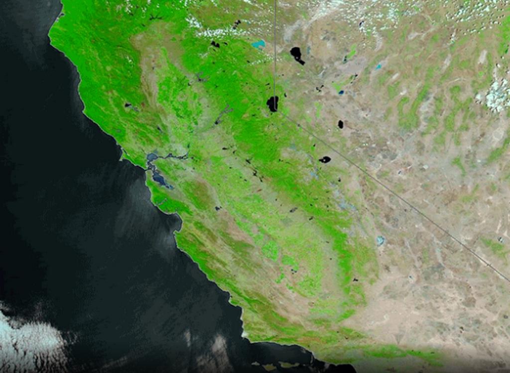 Satelitní snímek NASA: Kalifornie před požáry (28. června)