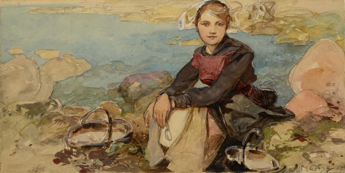 Alfons Mucha / Na břehu (kolem 1900)