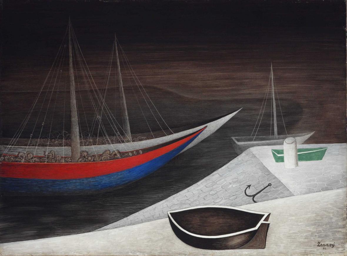 Jan Zrzavý / Spící lodi (1935)