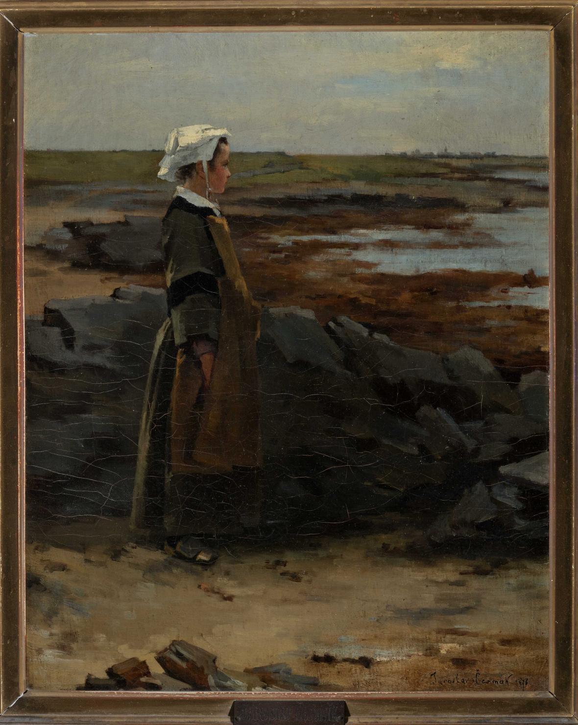 Jaroslav Čermák /  Mladá Bretonka na pobřeží (1876)