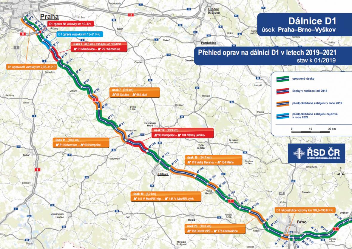 Přehled plánovaných oprav na dálnici D1 v letech 2019-2021