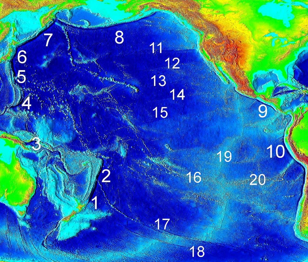 Hlavní tichomořské zákopy a zlomové zóny