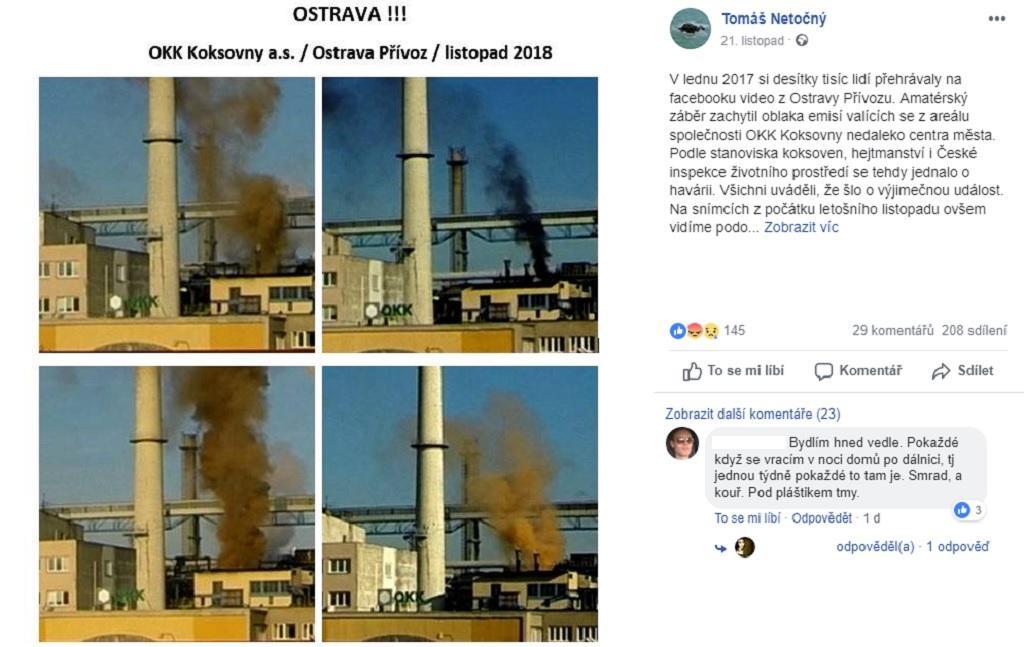 Dokumentarista Tomáš Netočný zveřejnil na sociální sítí Facebook snímky kouře linoucího se z ostravských koksáren