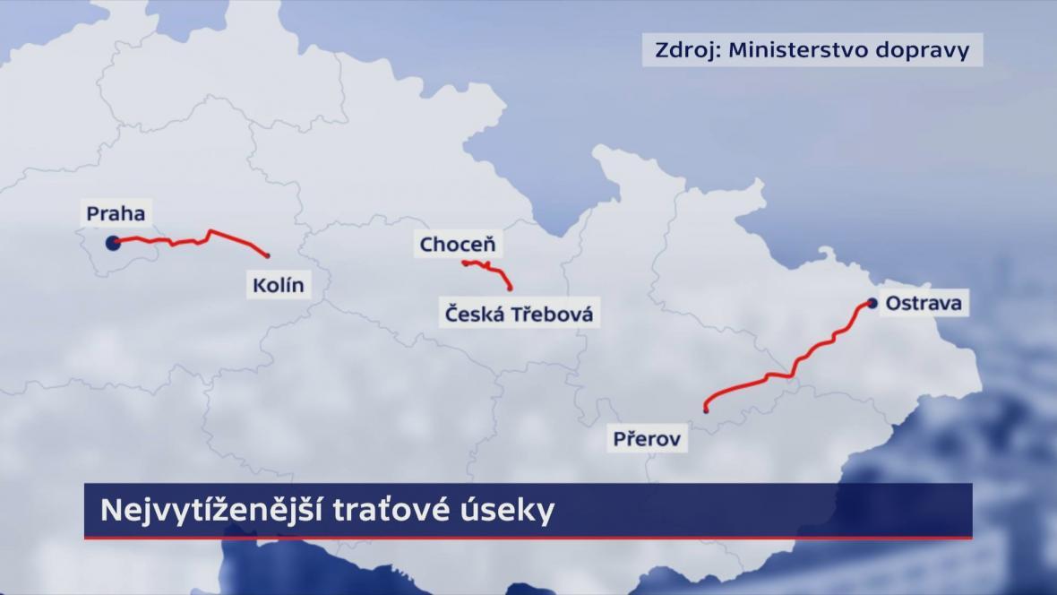 Nejvytíženější traťové úseky v Česku