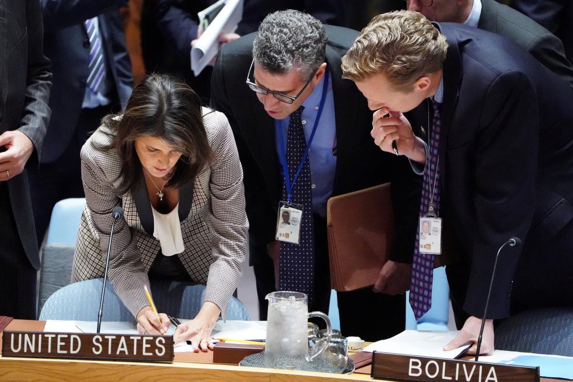 Nikki Haleyová během zasedání Rady bezpečnosti
