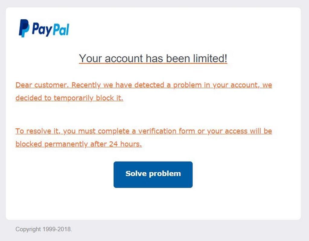 Podvodná stránka PayPal