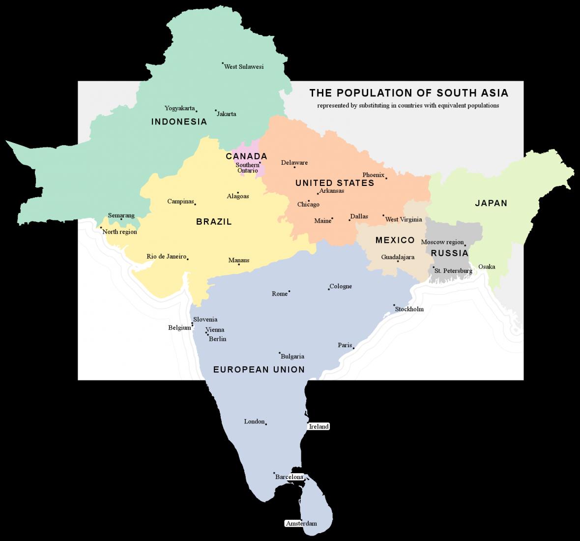 Státy odpovídající počtem obyvatel oblastem indického subkontinentu