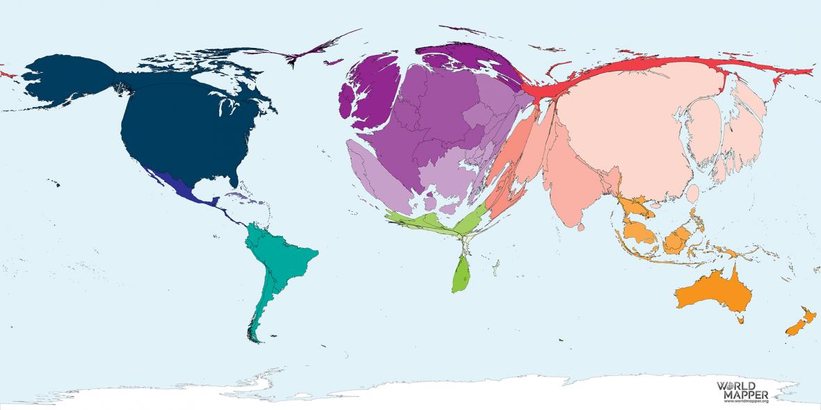 Kartogram, kde velikost země odpovídá počtu publikovaných vědeckých prací v roce 2016