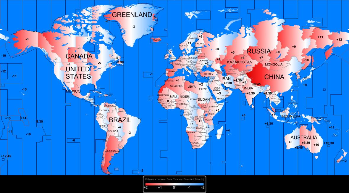 Mapa časových pásem a jejich posunu vůči astronomickému času