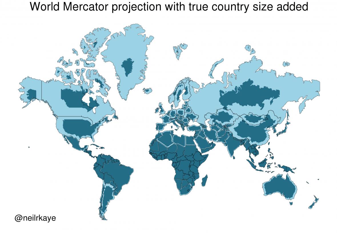 Mapa světa v Mercatorově projekci srovnaná se skutečnou relativní rozlohou států