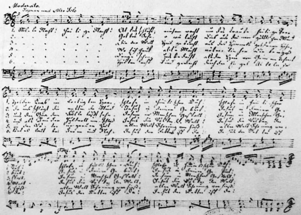 Originální Gruberův notový záznam písně Tichá noc