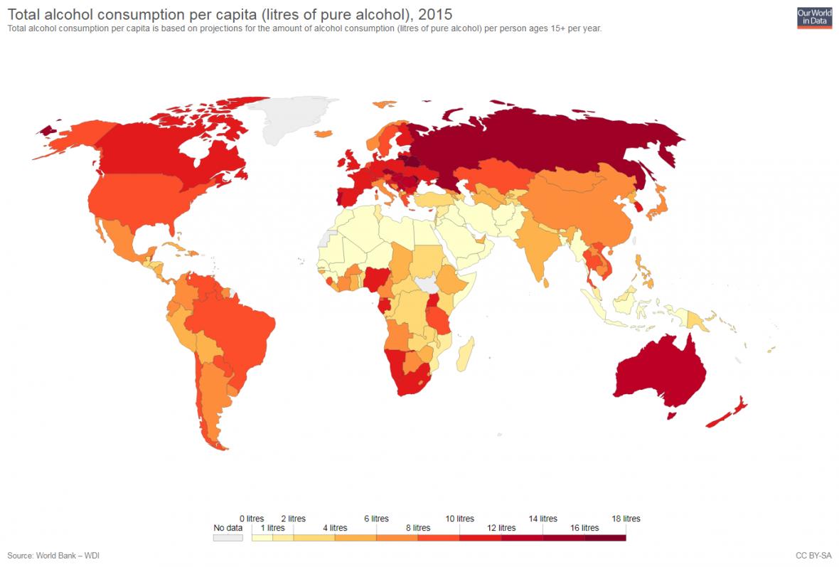 Konzumace čistého alkoholu v litrech na osobu za rok