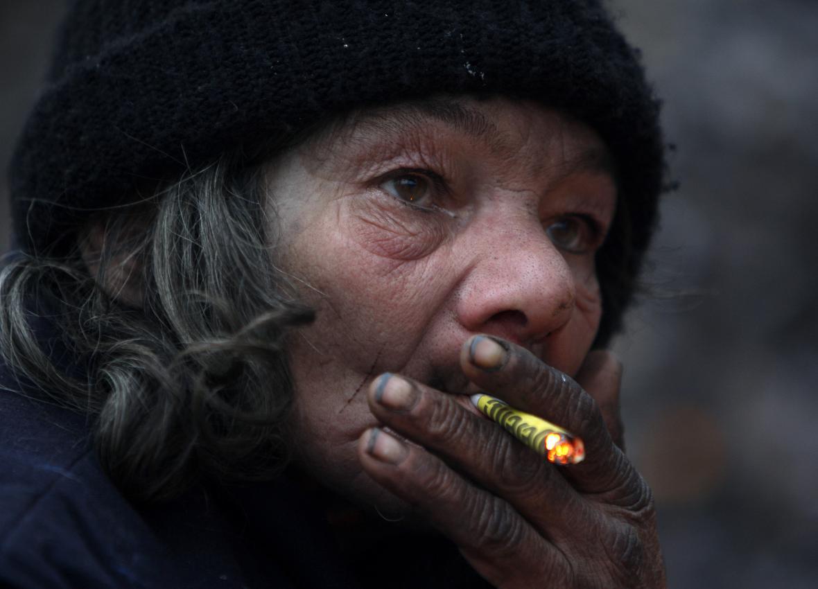 Maďarská žena bez domova