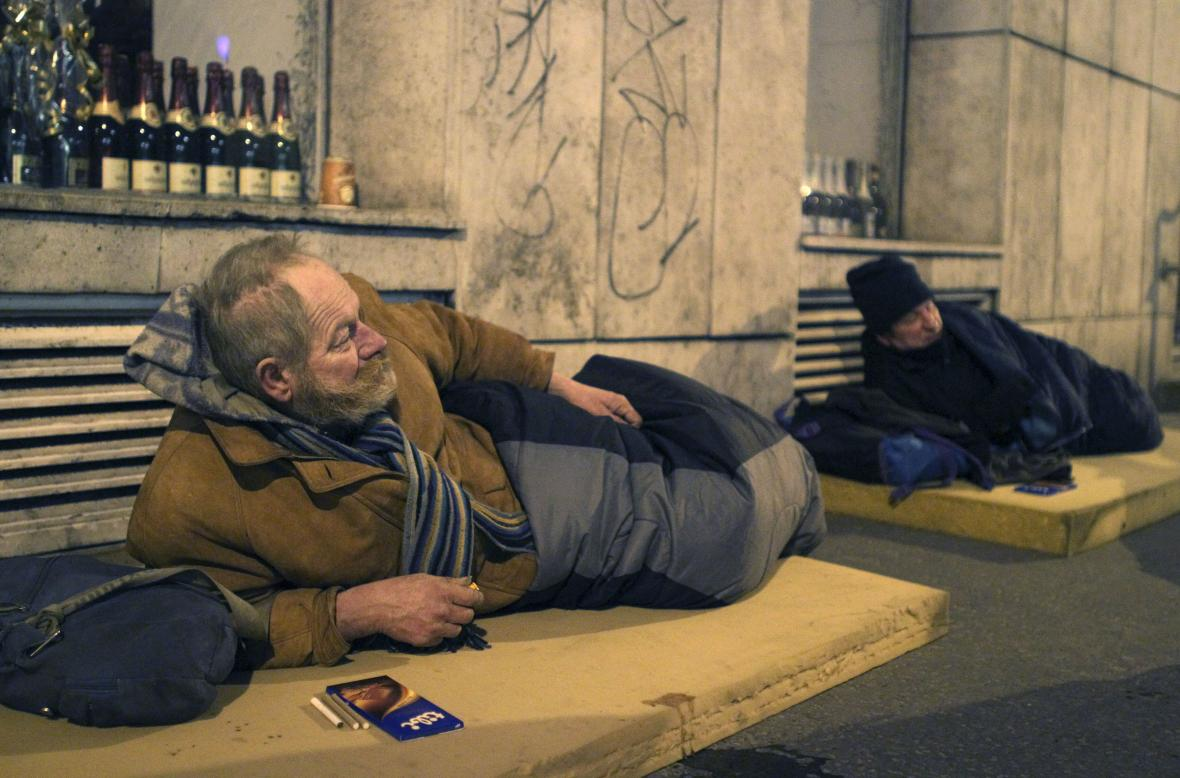 Bezdomovci v Budapešti v roce 2010