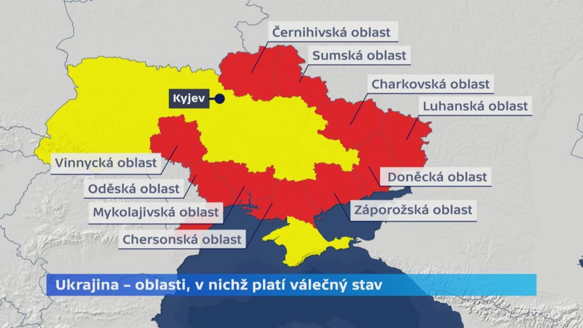 Ukrajinské oblasti, v nichž platí válečný stav