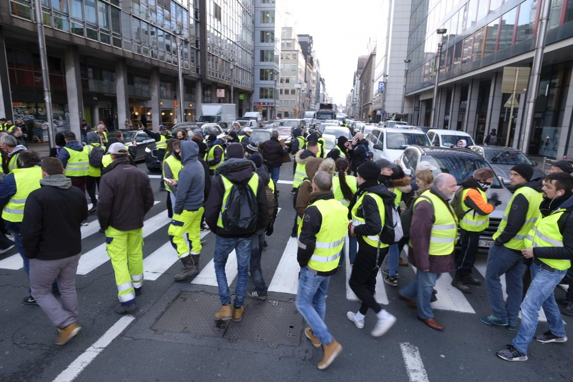 Protest v centru Bruselu