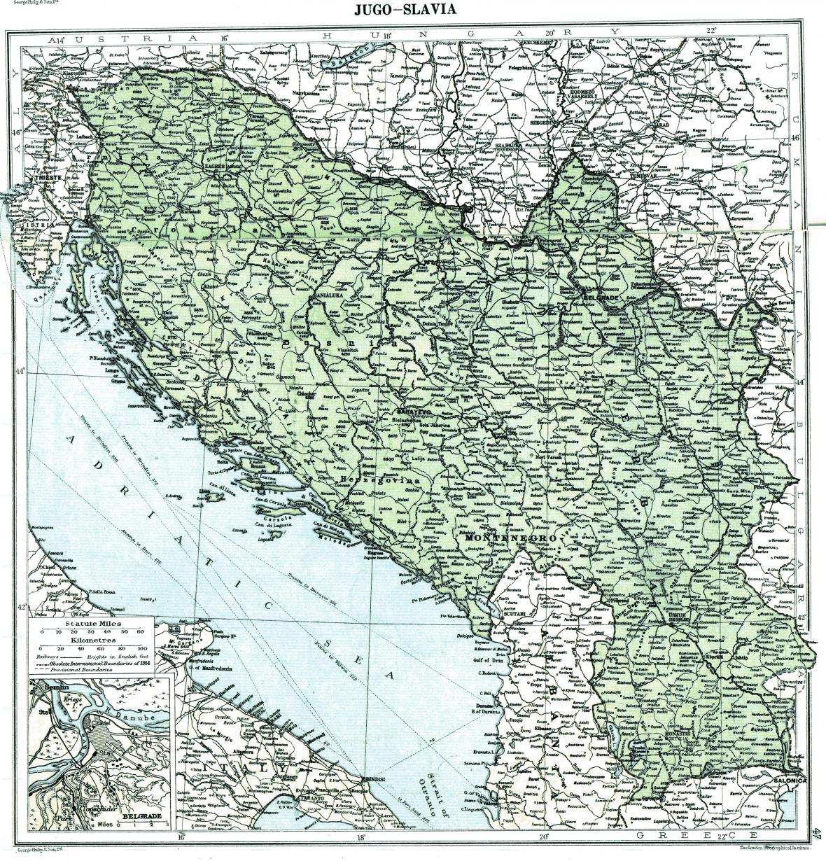 Mapa Království Srbů, Chorvatů a Slovinců (již označeno jako Jugoslávie) z roku 1919