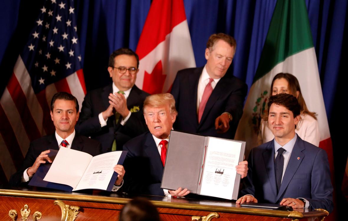 Enrique Peña Nieto, Donald Trump a Justin Trudeau