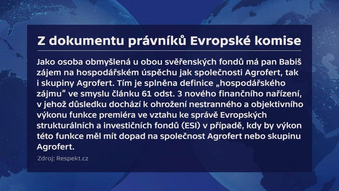 Citace z dokumentu právní služby Evropské komise