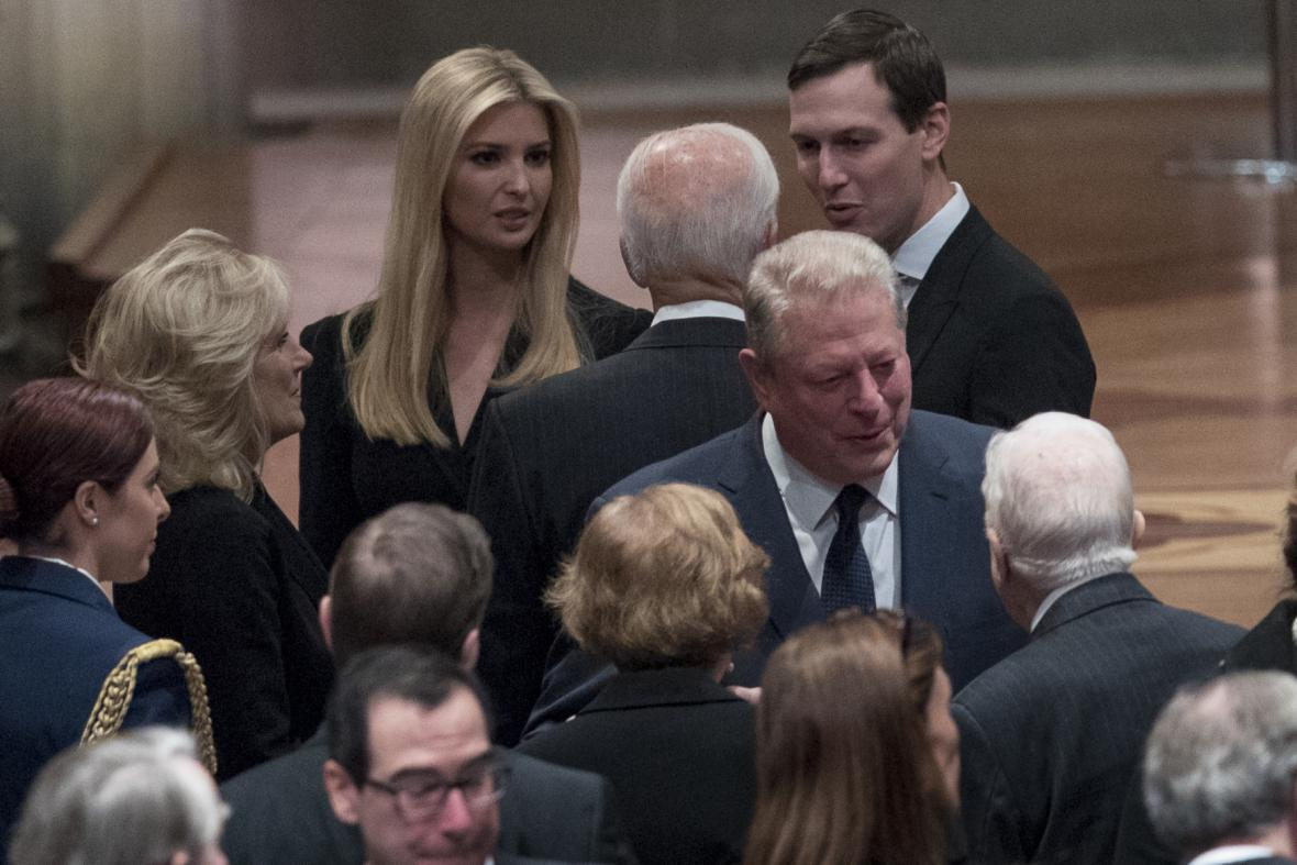 Dcera prezidenta Donalda Trumpa Ivanka Trumpová na pohřbu George Bushe staršího