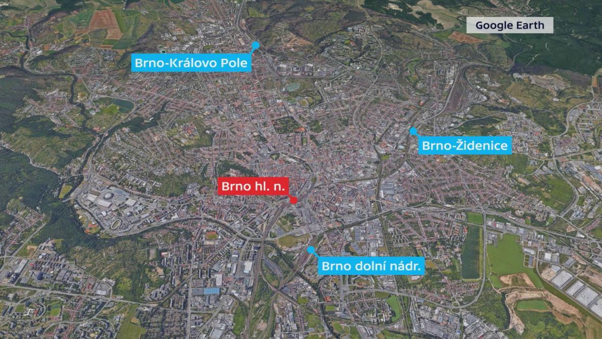 Z hlavního nádraží se vlaky přesunou do Králova Pole, Židenic a na dolní nádraží