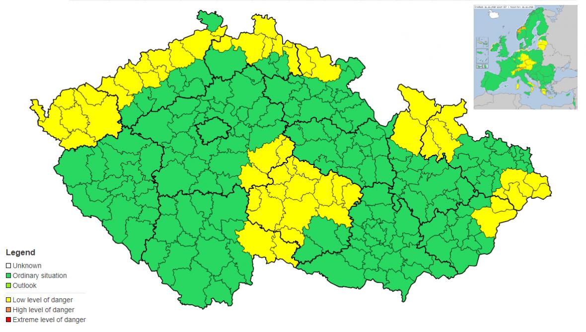 Varování ČHMÚ před sněžením (žluté okresy)
