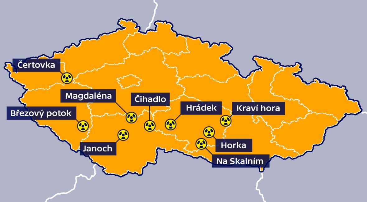 Vytipované lokality pro jaderná úložiště