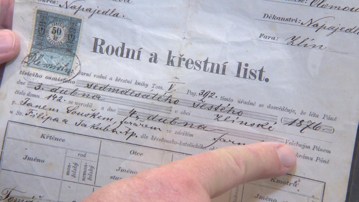 Rodný list Tomáše Bati