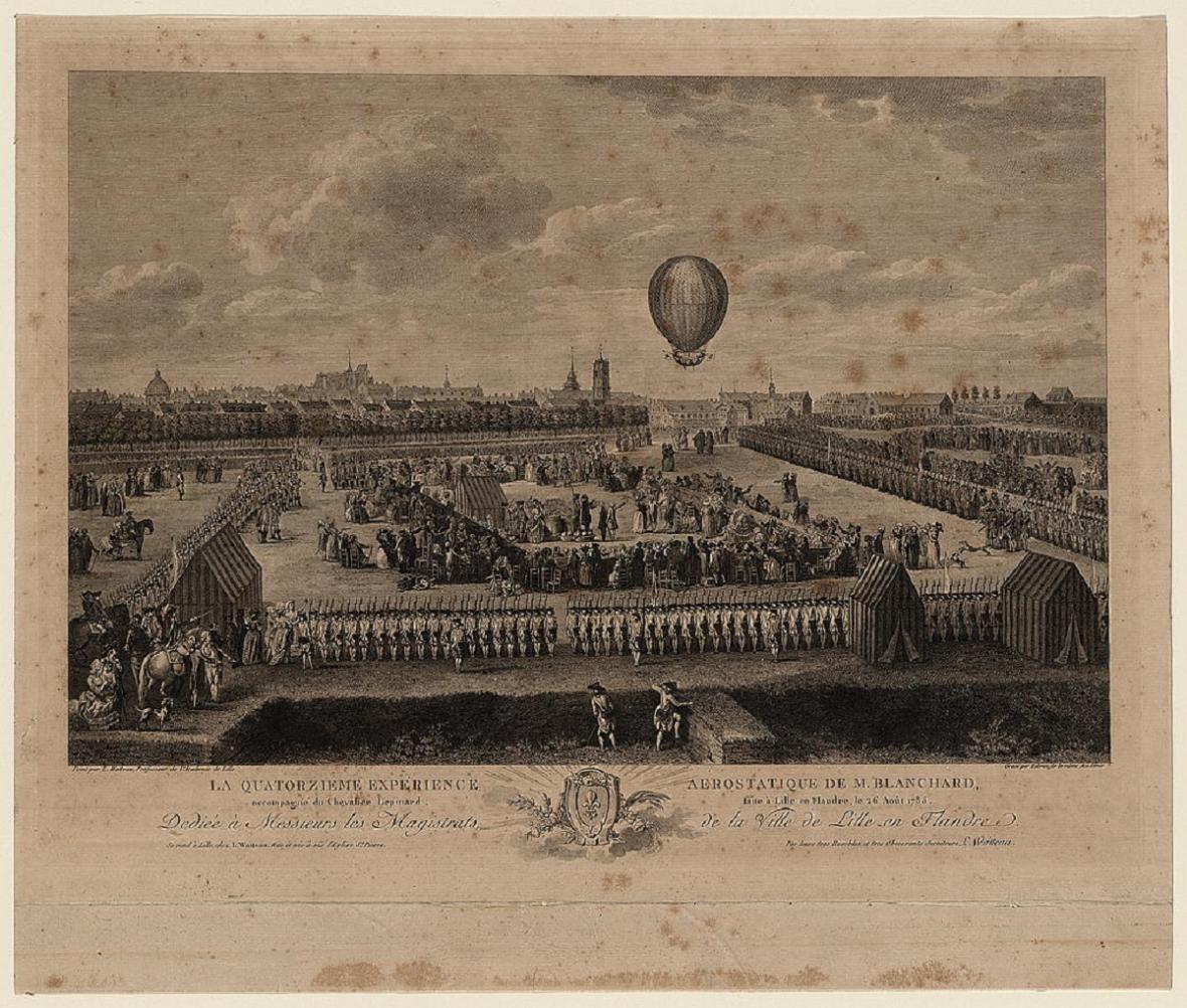 Pařížský lid pozoruje start balonu