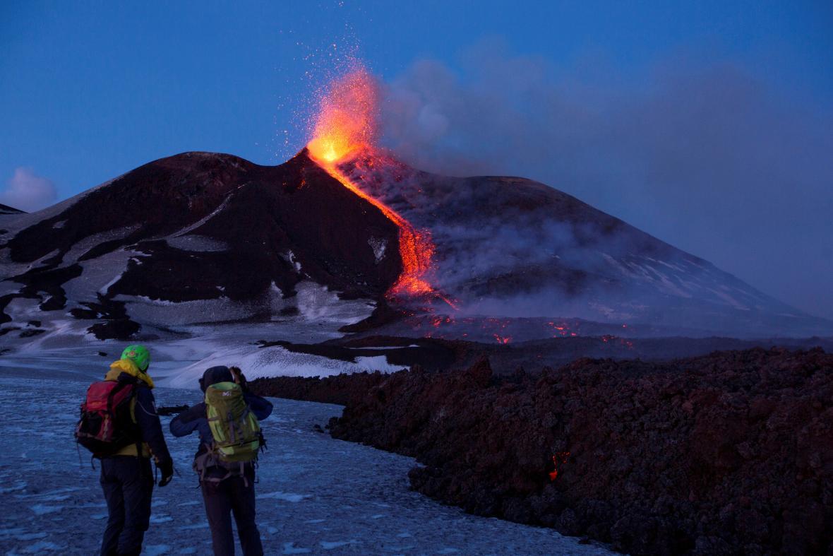 Výbuch Etny v únoru 2017