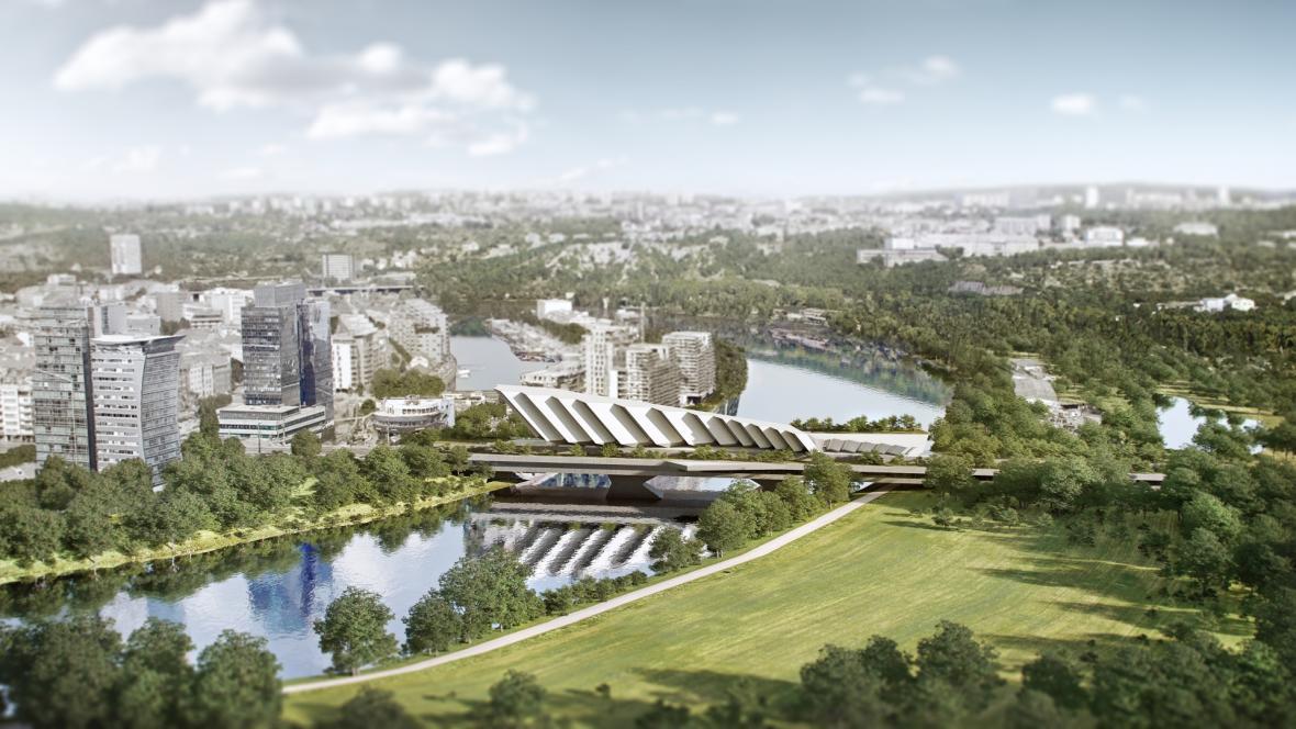 Vize architekta Jaromíra Pizingera na novou podobu Libeňského mostu, kterou představil Petr Stuchlík