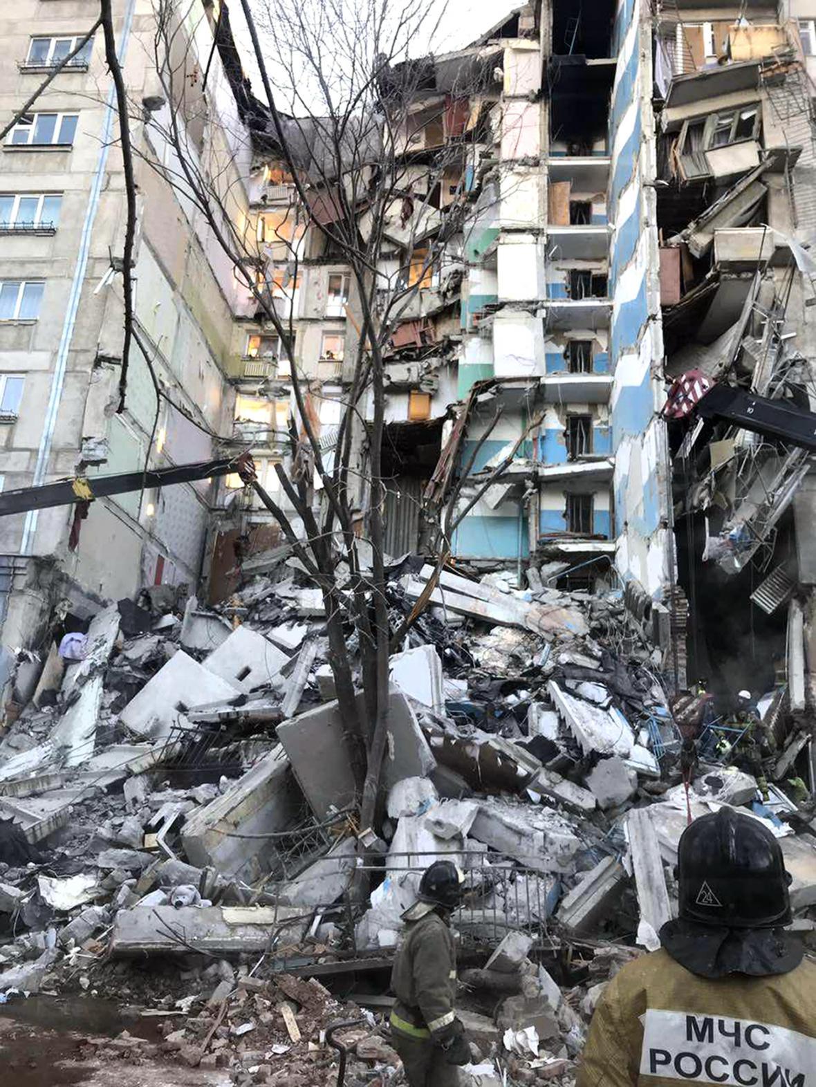 Trosky zničeného domu v Magnitogorsku