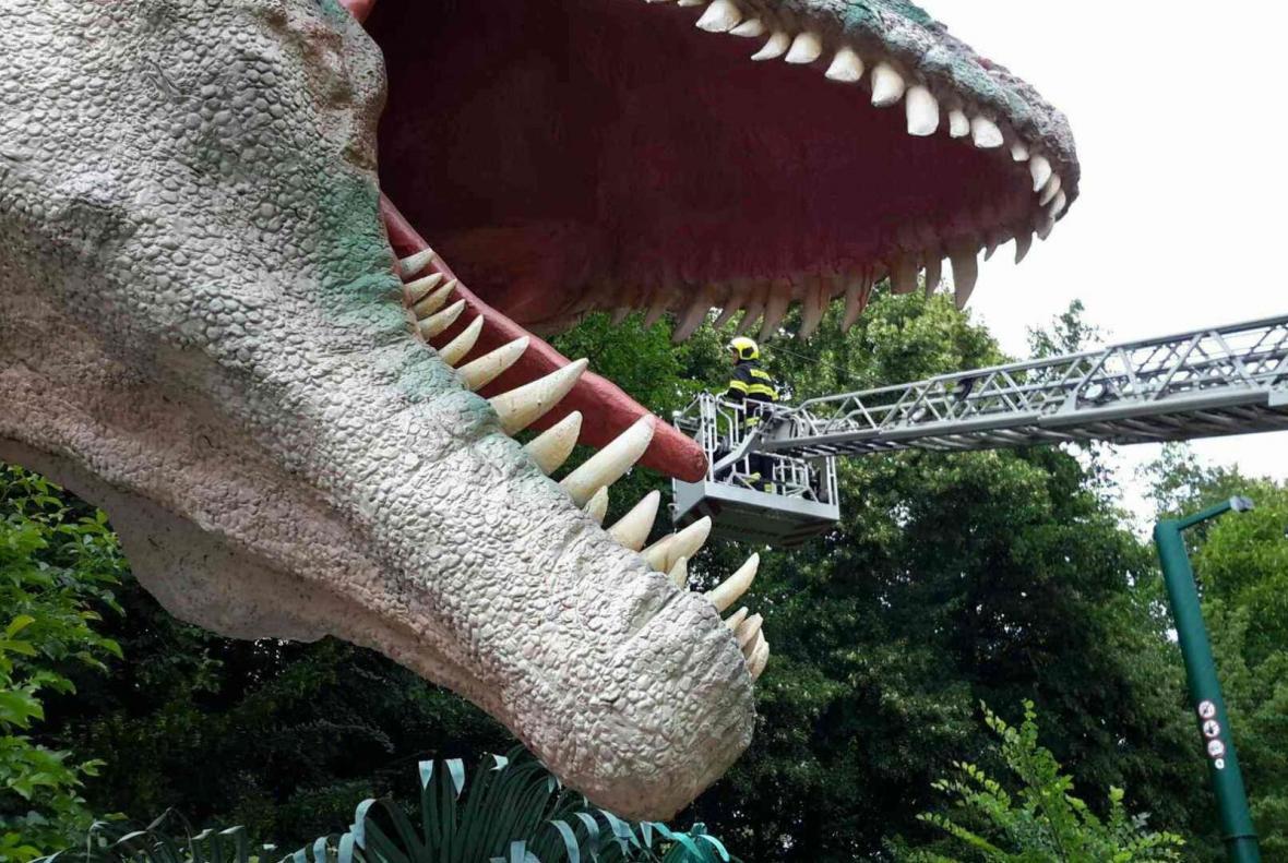 Záchrana muže z dinosaura