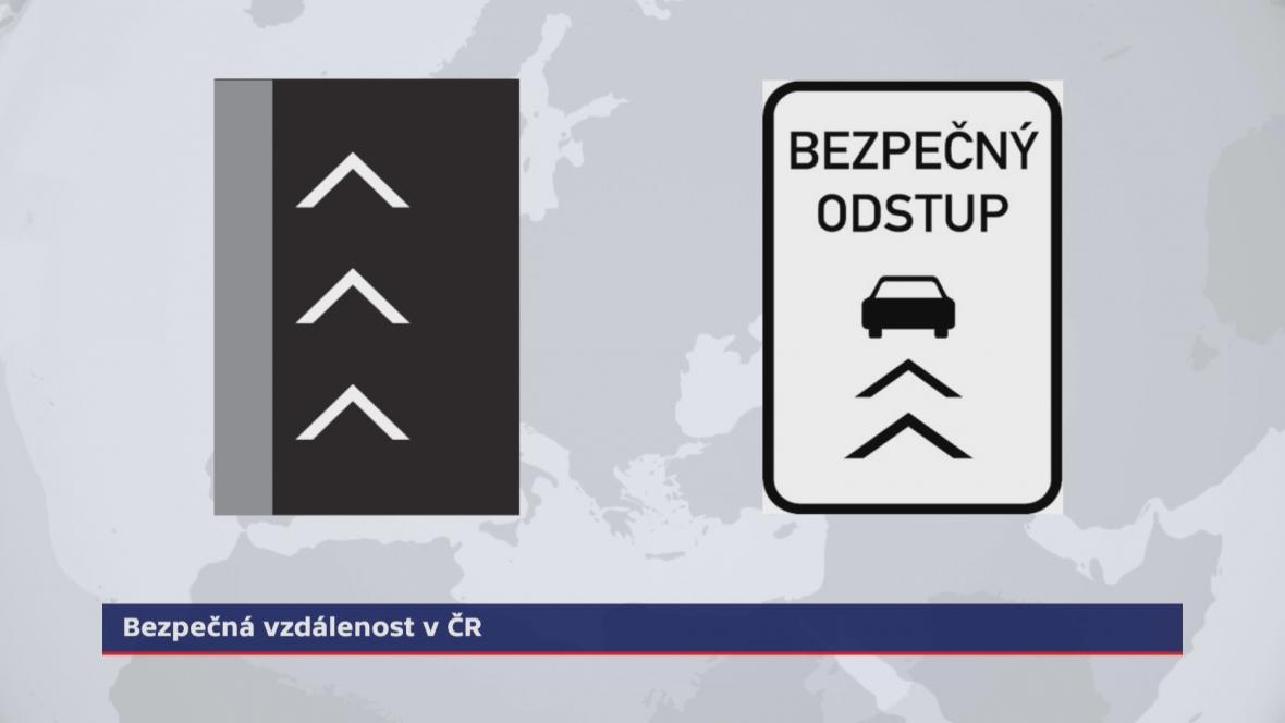 Značky upozorňující řidiče na bezpečný odstup