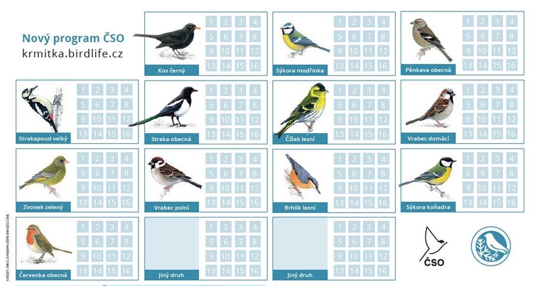 Ukázka sčítačího archu ptáků