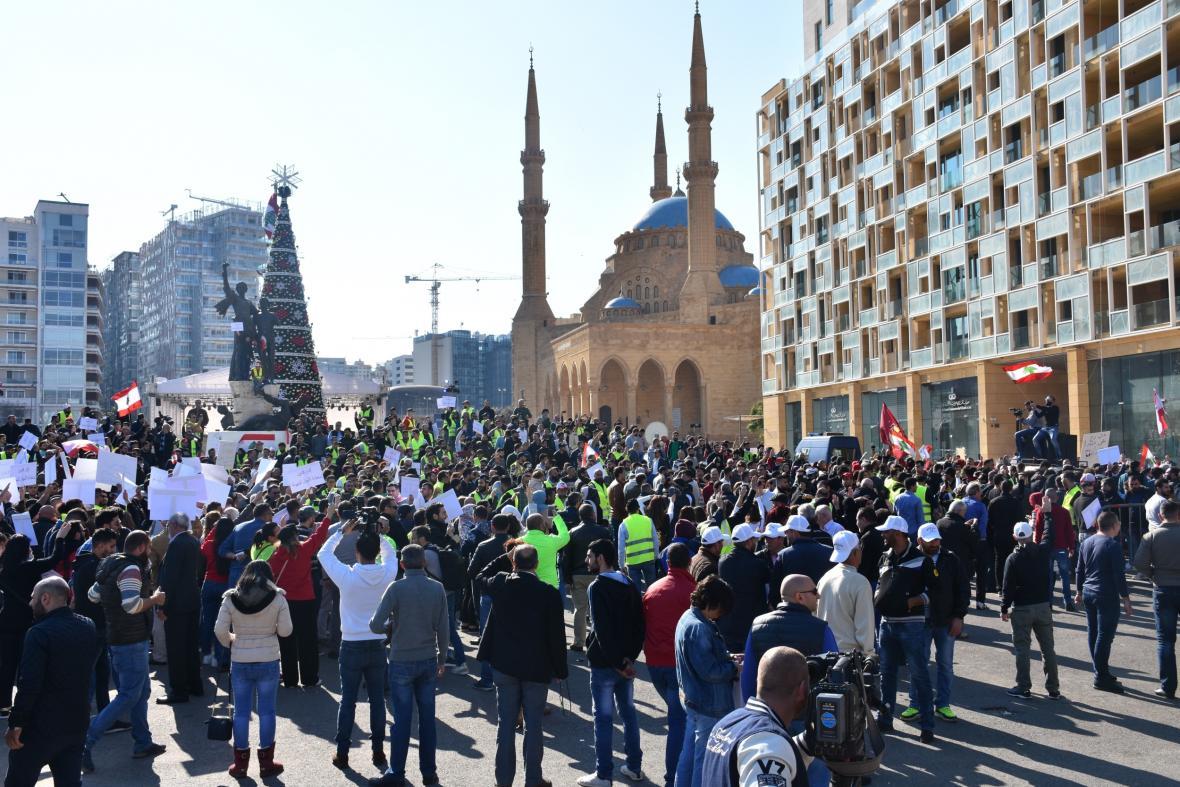 Protest v Libanonu v prosinci 2018