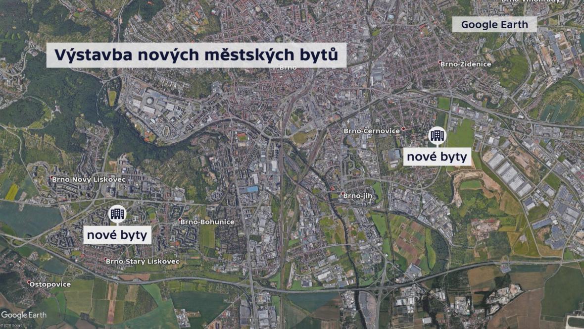 Mapa výstavby nových městských bytů