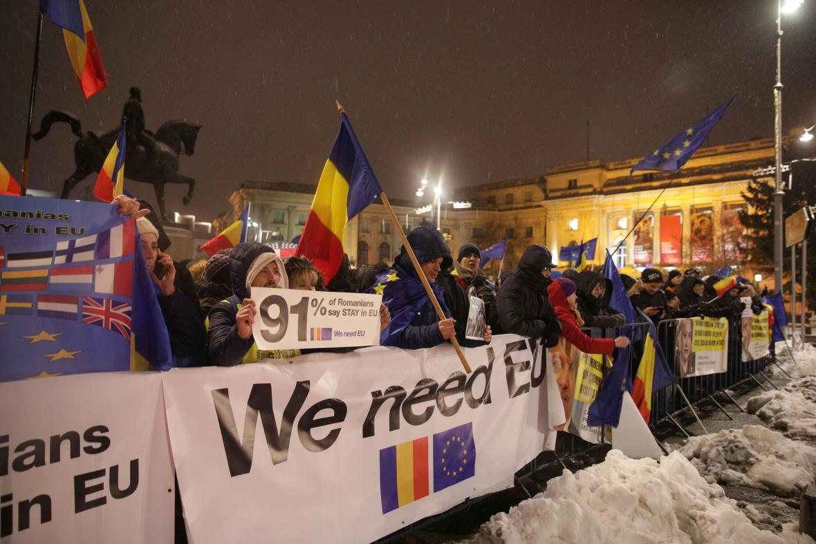 Demonstrace Rumunů při převzetí předsednictví EU