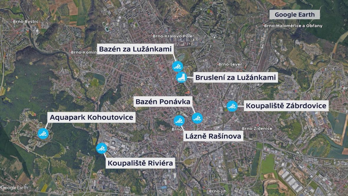 Brněnská sportoviště, kterých se projekt týká